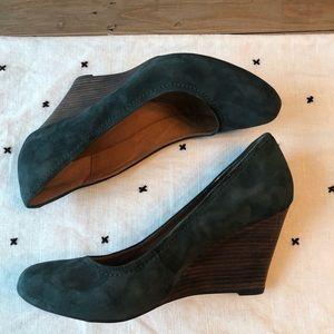 Clarks Dark Green Suede Leather Wedges